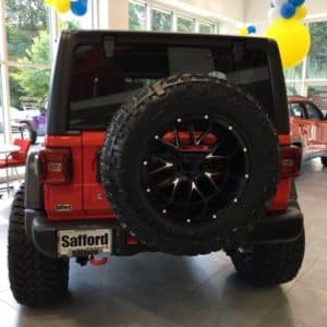 Rear of lifted Jeep Wrangler JL