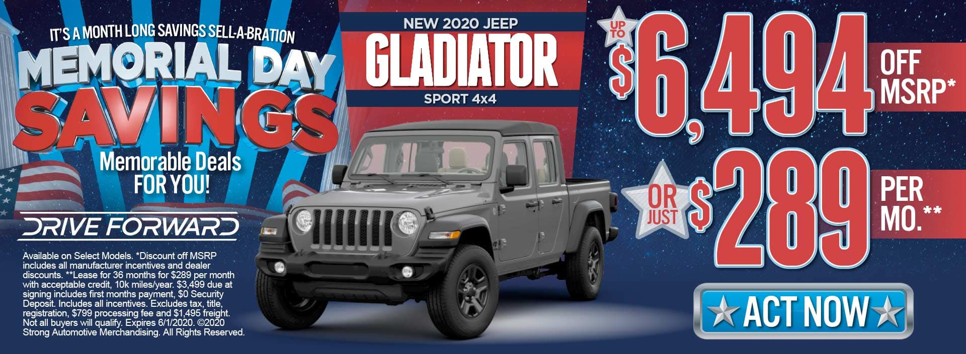 New jeep gladiator to $6494 off msrp* or just $289 per month** act now