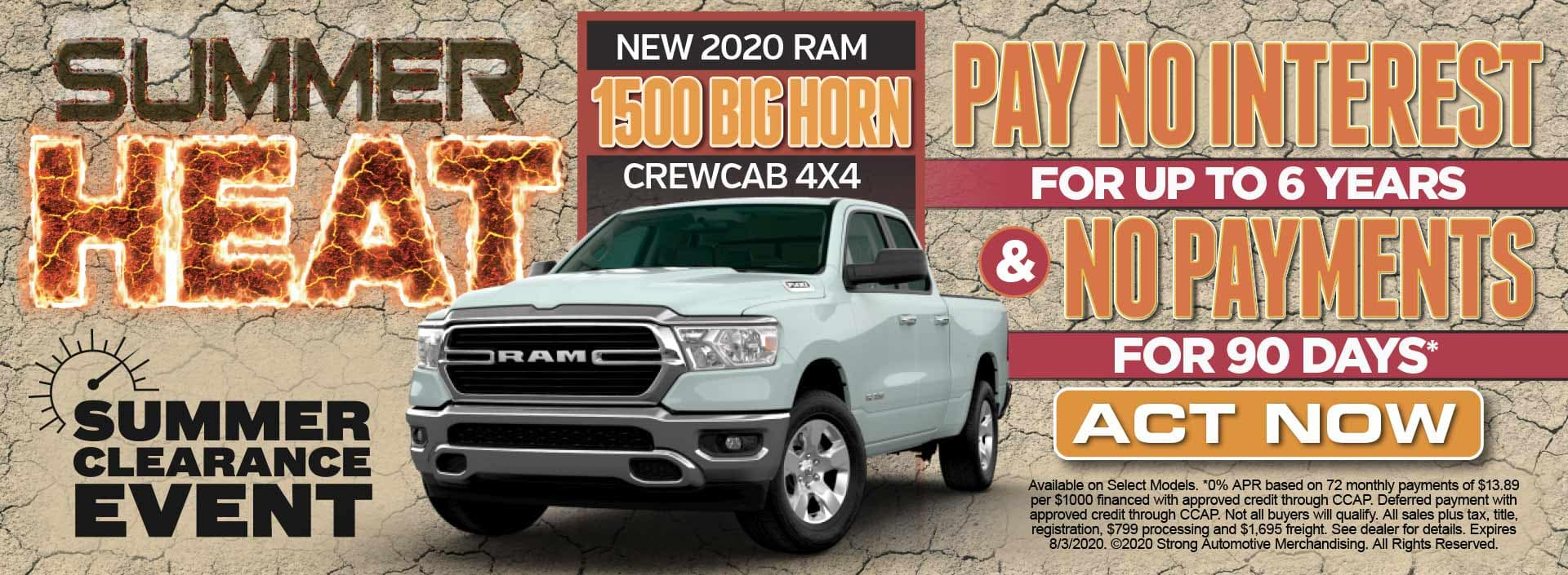 New 2020 Ram 1500 Pay No Interest for up to 6 Years* Act Now