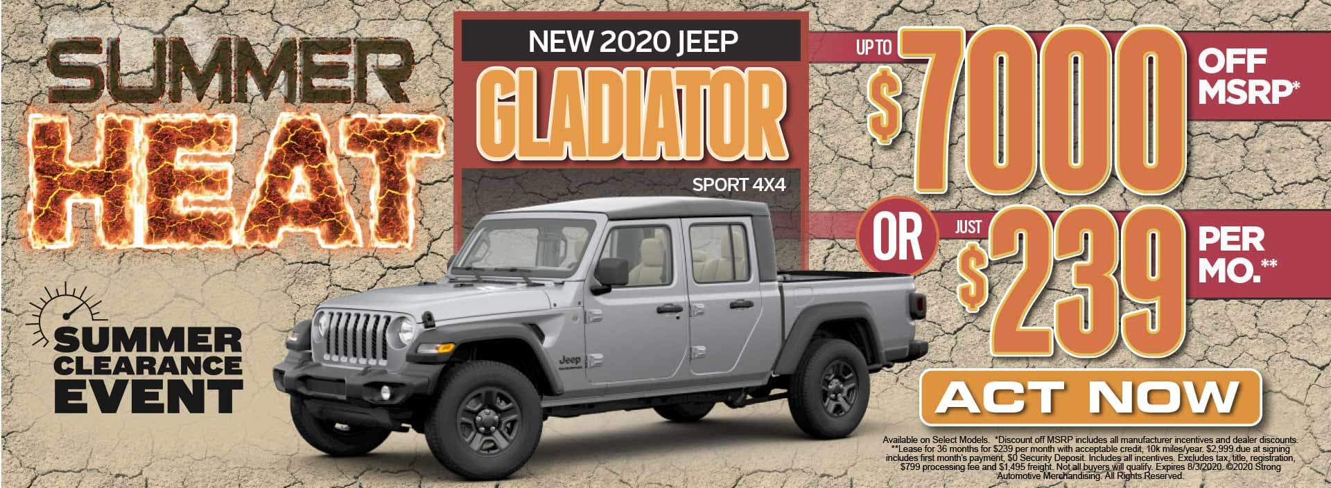 New 2020 Jeep Gladiator up to $7000 Off MSRP* Act Now