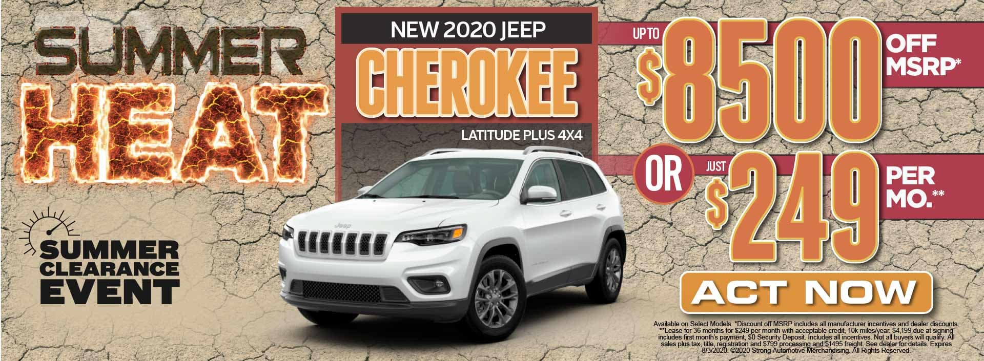 New 2020 Jeep Cherokee up to $8500 Off MSRP* Act Now