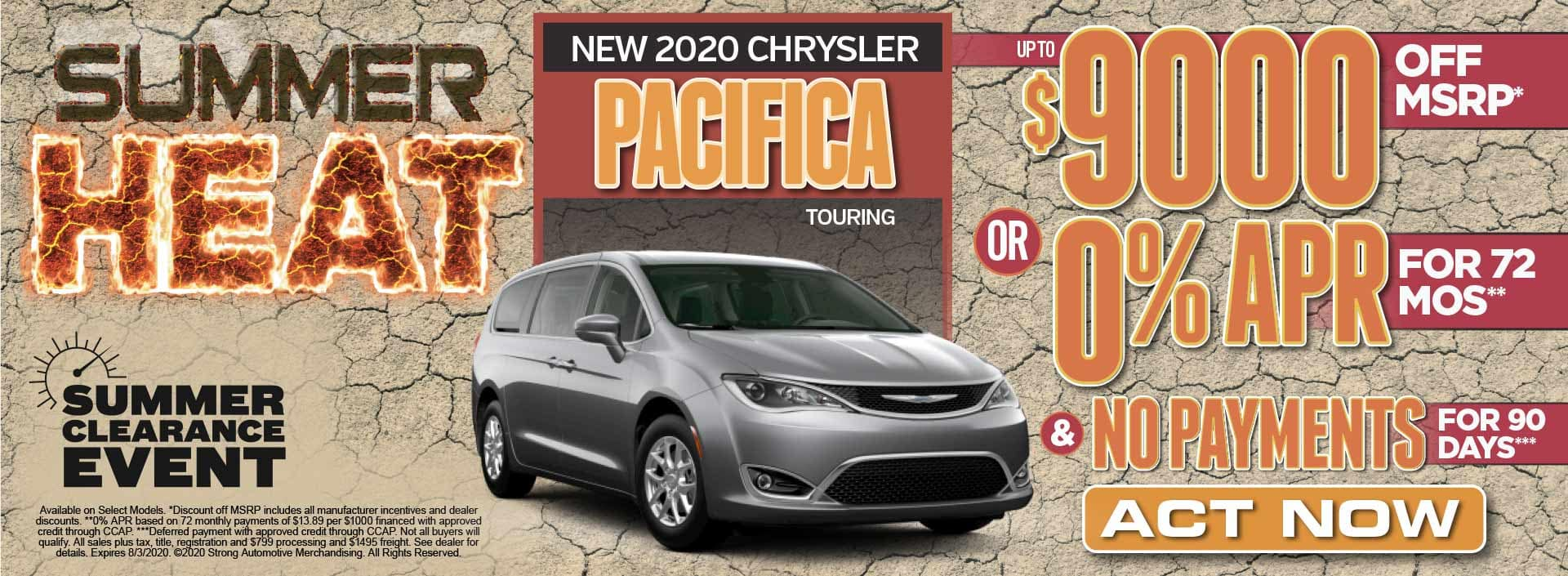 New 2020 Chrysler Pacifica up to $9000 Off MSRP* Act Now