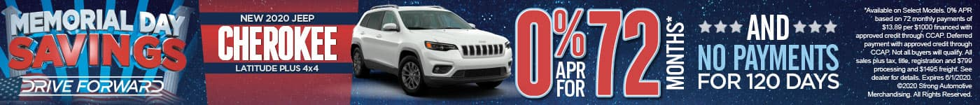 NEW 2020 JEEP CHEROKEE LATITUDE PLUS 4x4 0% APR FOR 72 MONTHS* AND NO PAYMENTS FOR 120 DAYS