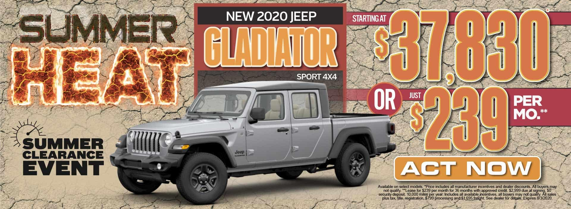 New 2020 Jeep Gladiator Sport Starting at $37,830* Act Now
