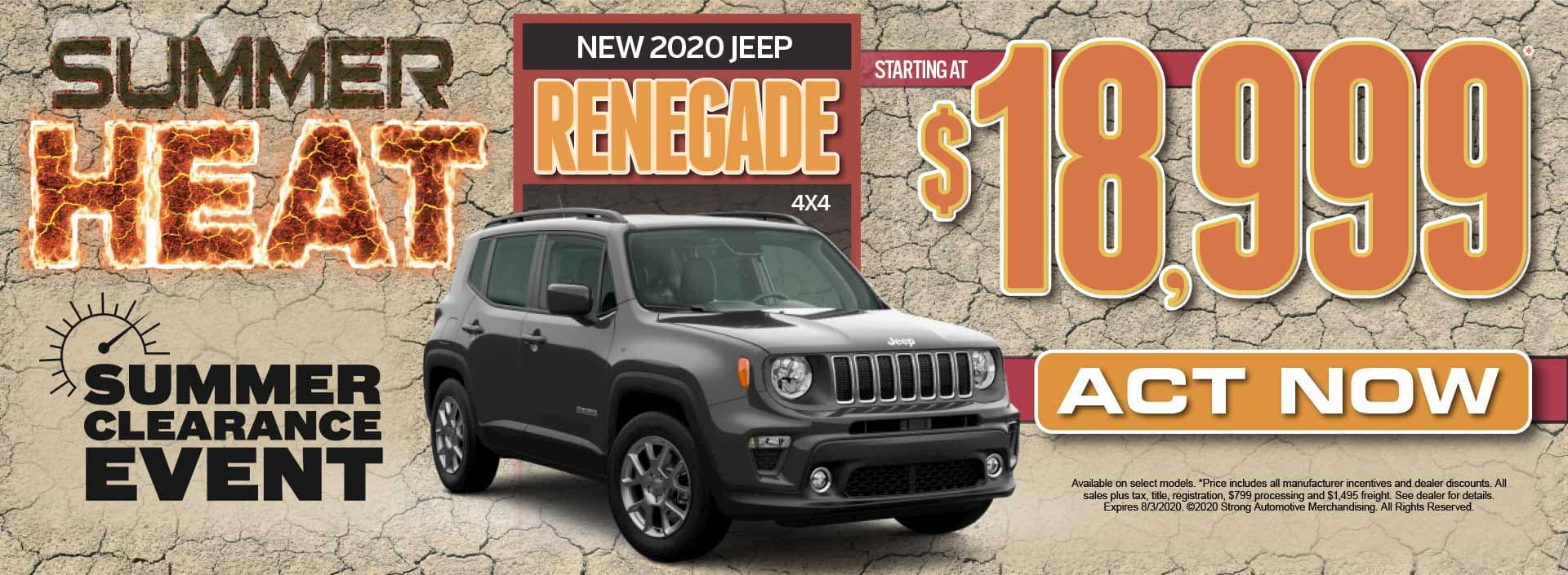 New 2020 Jeep Renegade Starting at $18,999* Act Now