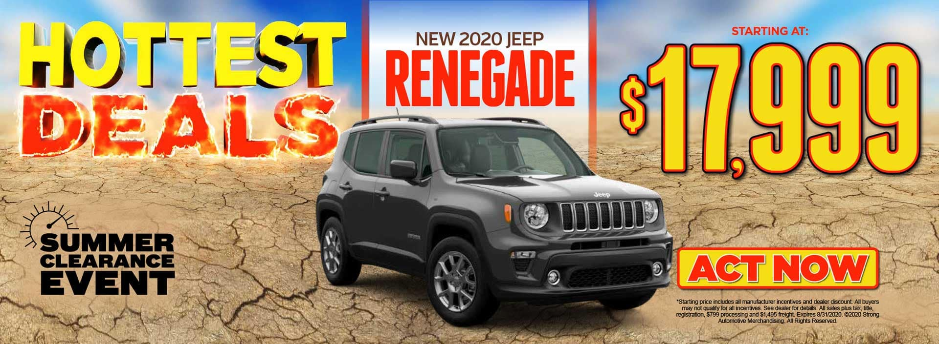 New 2020 Jeep Renegade starting at $17,999 ACT NOW