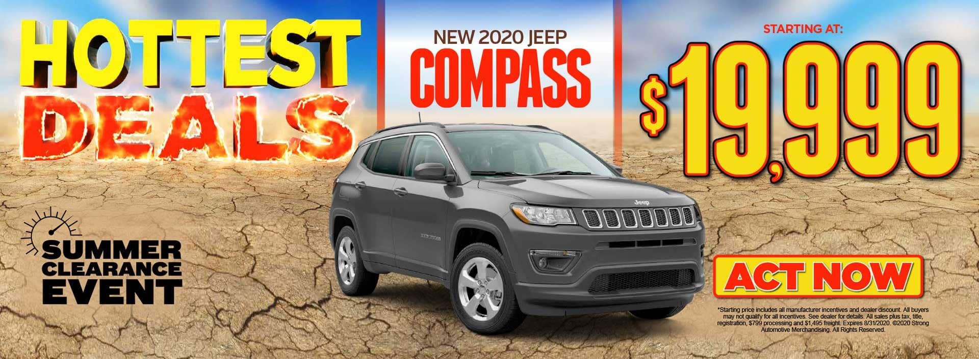 New 2020 Jeep Compass starting at $19,999 ACT NOW