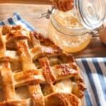 Tasty homemade apple pie on table