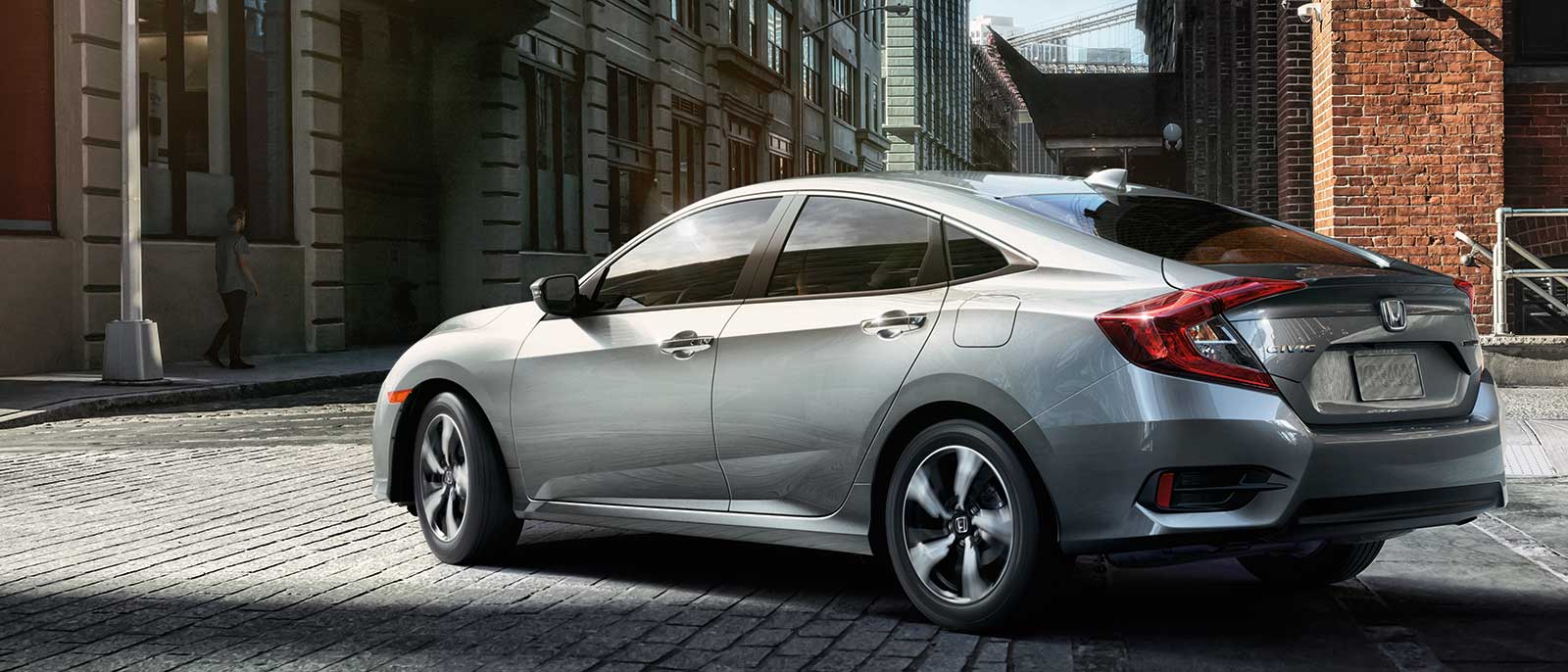 2017 Honda Civic Sedan rear view in silver