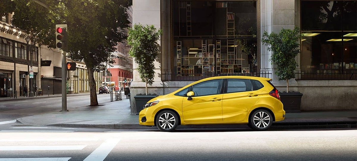 2018 Yellow Honda Fit On city Street