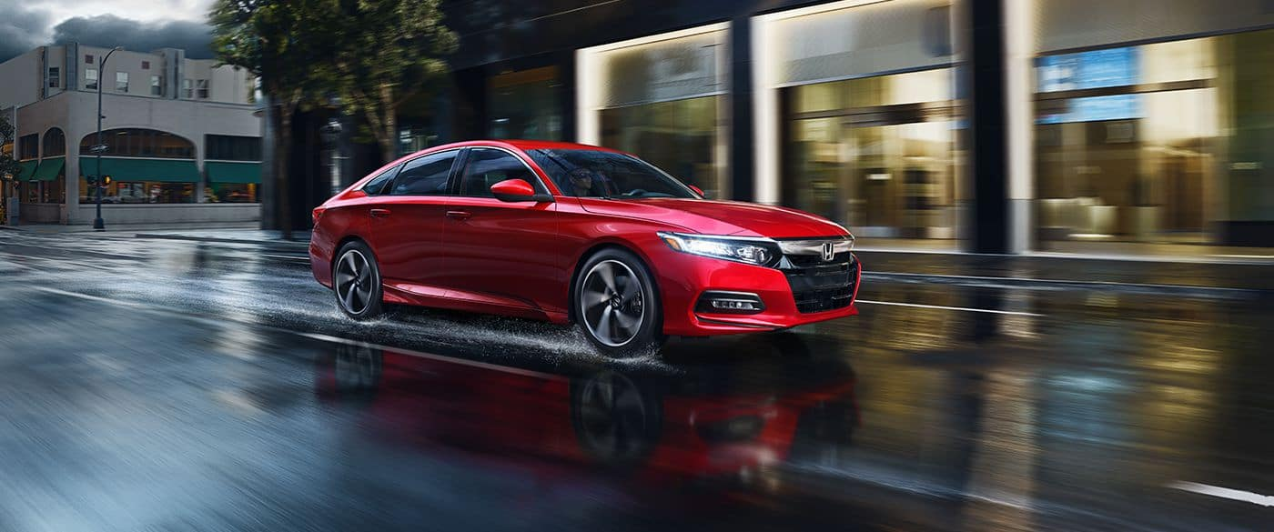 2018 Honda Accord exterior red driving in the rain
