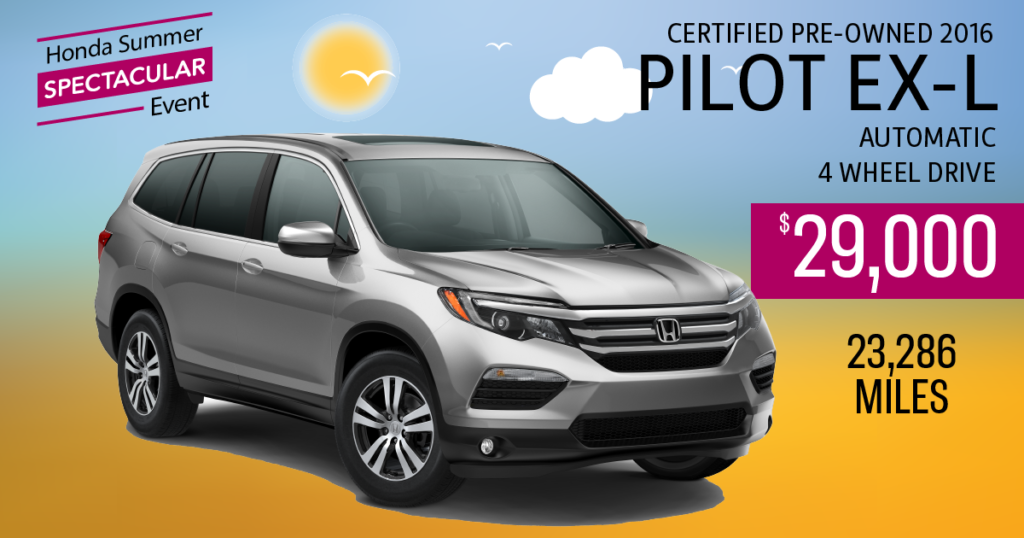 Certified Pre-Owned 2016 Pilot EX-L
