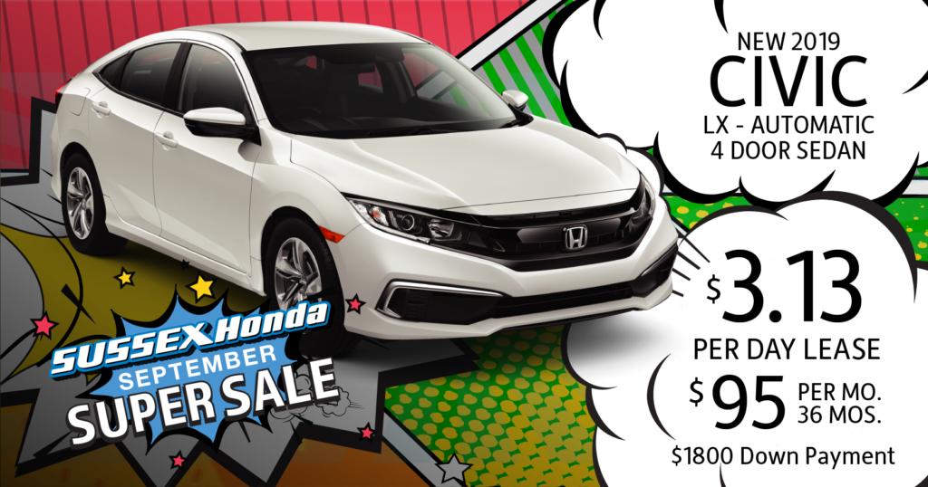 Honda Civic Lease >> Current Honda New Vehicle Lease Specials Sussex Honda