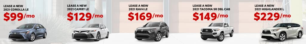 New 2021 Toyota Camry, Corolla, RAV4, Highlander, Tacoma