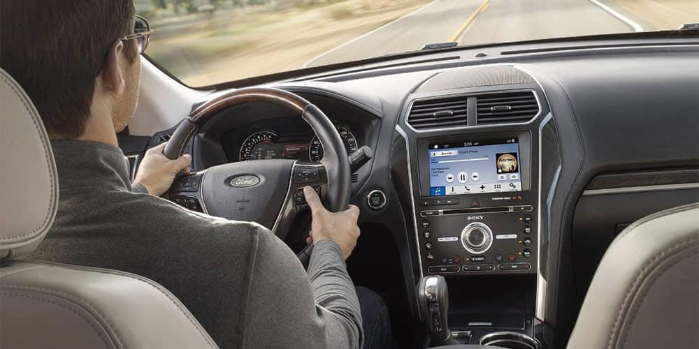 Driver behind the wheel of the 2018 Ford Explorer