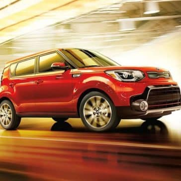2019 Kia Soul driving through a tunnel