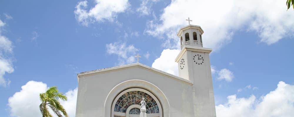 Dulce Nombre de Maria Cathedral Basilica with partially cloudy sky