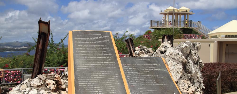 View of sculpture and sky at Two Lovers point lookout in Guam