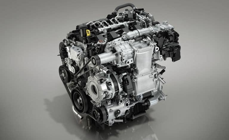 Mazda3 SKYACTIV®-X Engine front on gray background