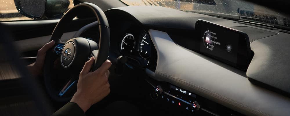 2019 Mazda3 Sedan Steering wheel and dashboard with MAZDA CONNECT