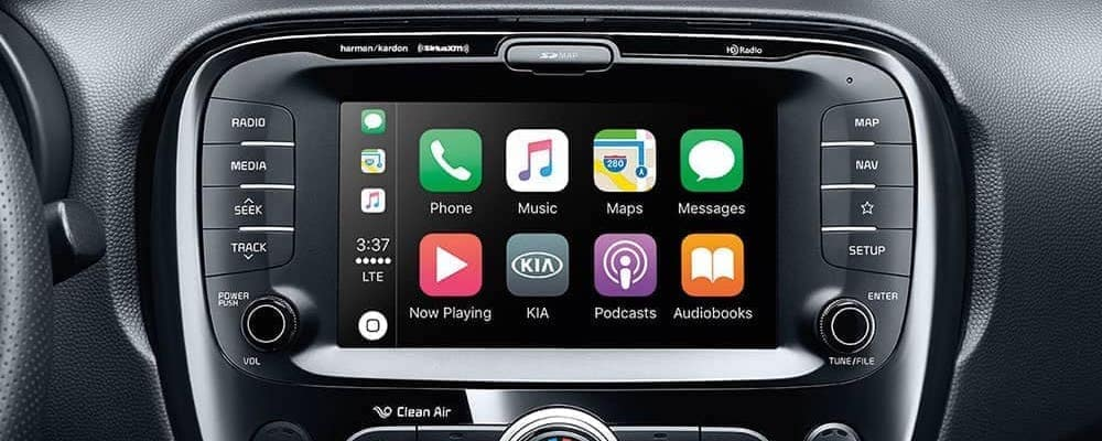 Close on touchscreen inside Kia Soul with Apple CarPlay