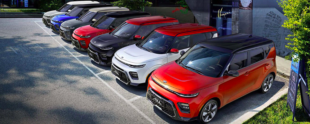 2020 Kia Soul models in various exterior colors parked in a row