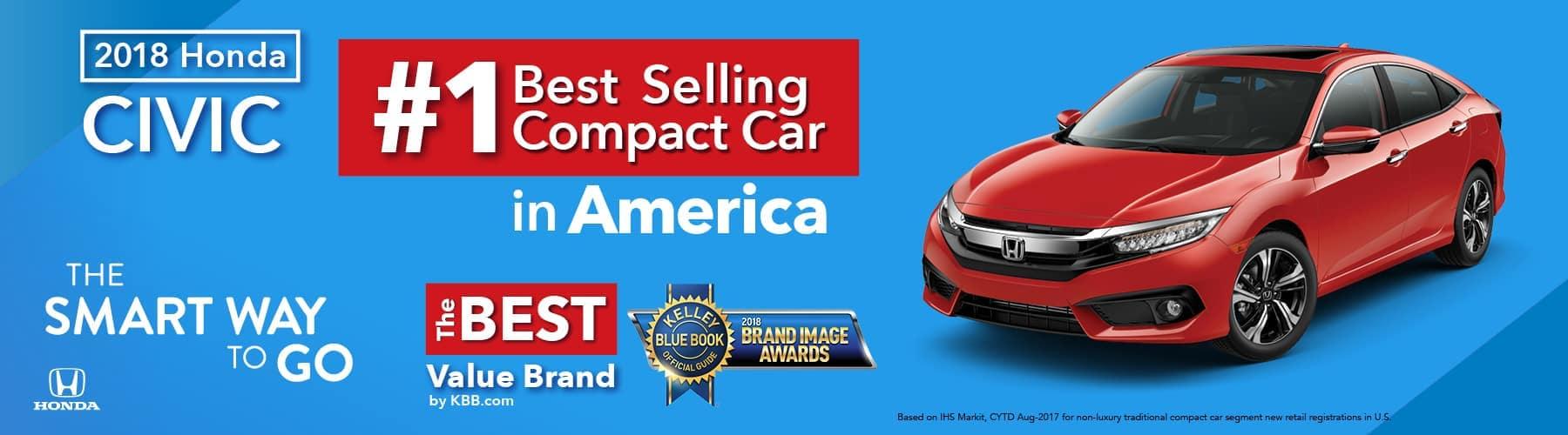 2018 Honda Civic Kelley Blue Book Best-Selling Compact Car in America