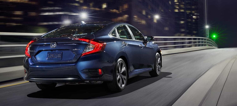 2019 Honda Civic Sedan Exterior Rear Angle Passenger Side Night
