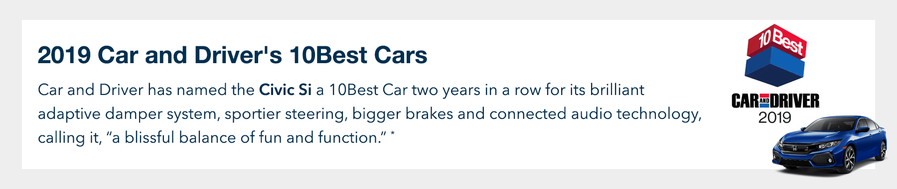 2019 Honda Civic Si Car and Driver 10Best Award Slider