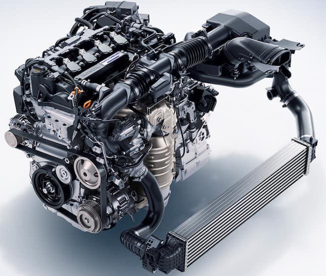 Close on turbocharged 1.5L Honda Accord Engine against white background