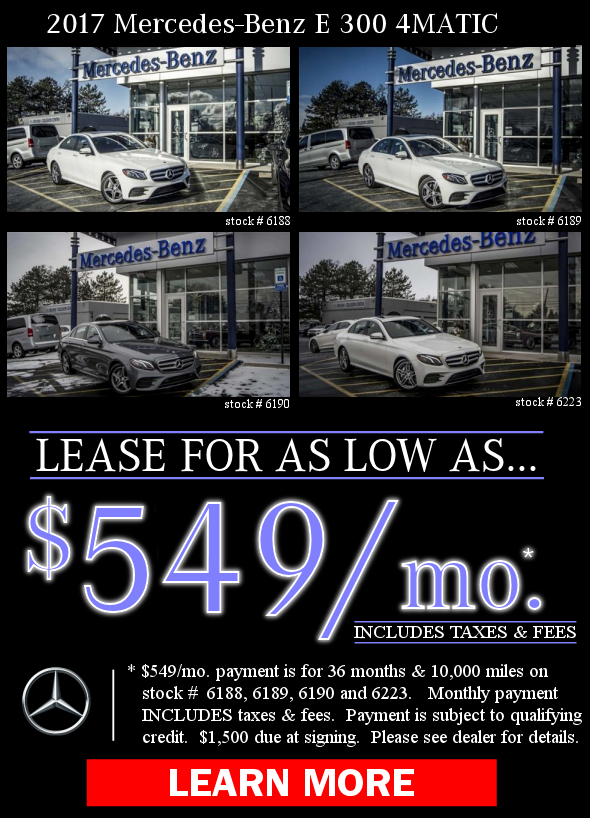 2017 Mercedes-Benz E 300 4MATIC Offers. Learn More!