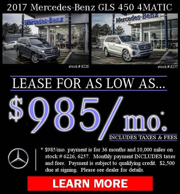 2017 Mercedes-Benz GLS 450 4MATIC Lease Offers! Learn More!