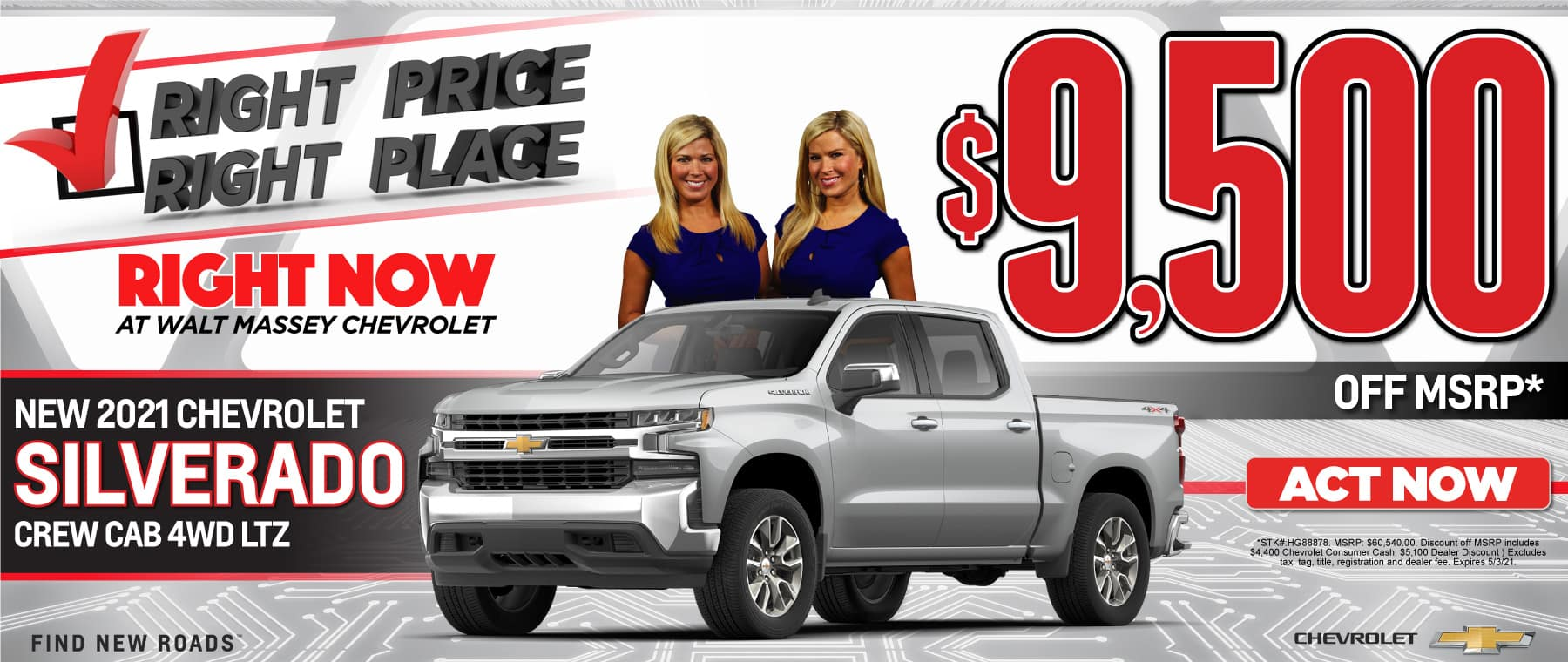 New 2021 Chevy Silverado - $9500 off msrp - Act Now