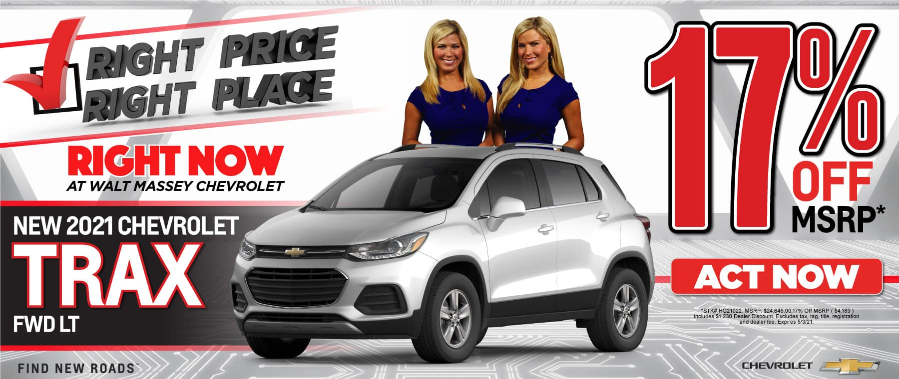 New 2021 Chevy Trax - 17% off msrp - Act Now