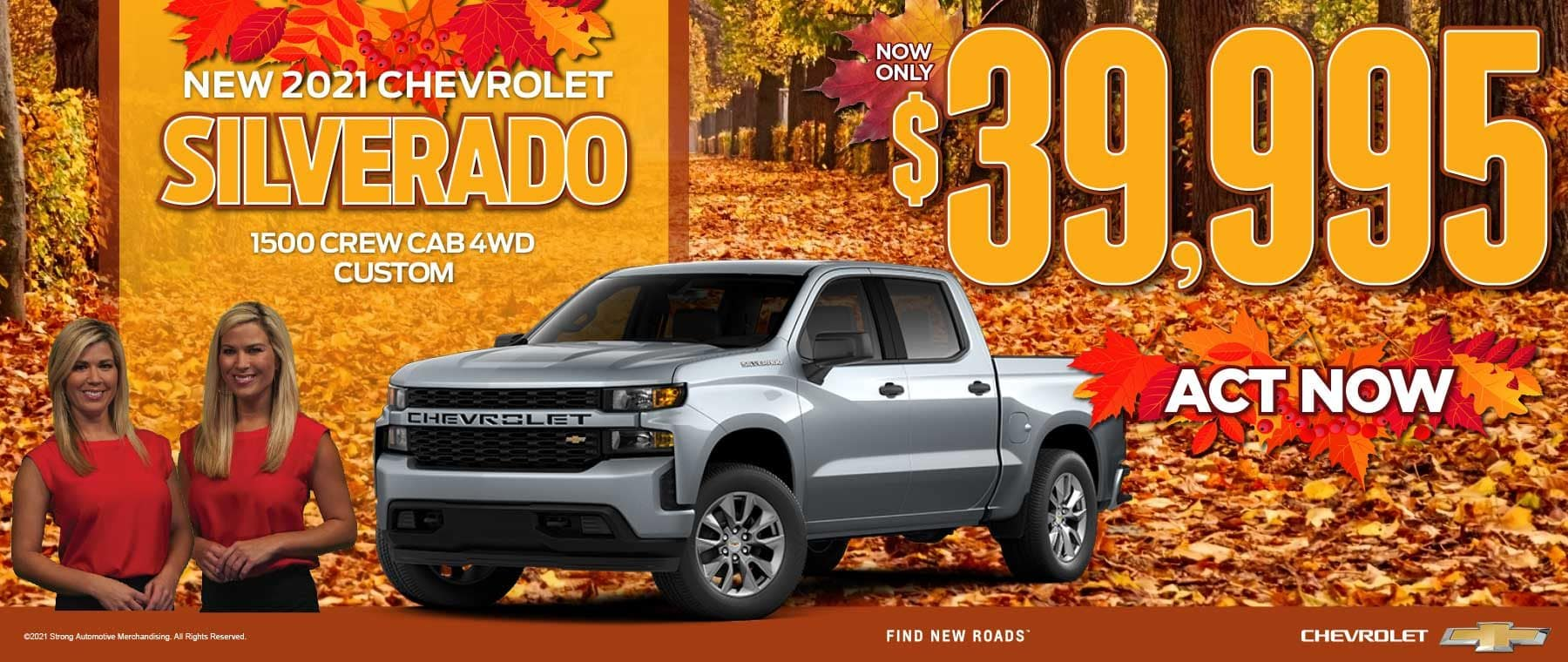 NEW 2021 CHEVROLET SILVERADO 1500 CREW CAB 4WD. NOW ONLY $39,995. ACT NOW!