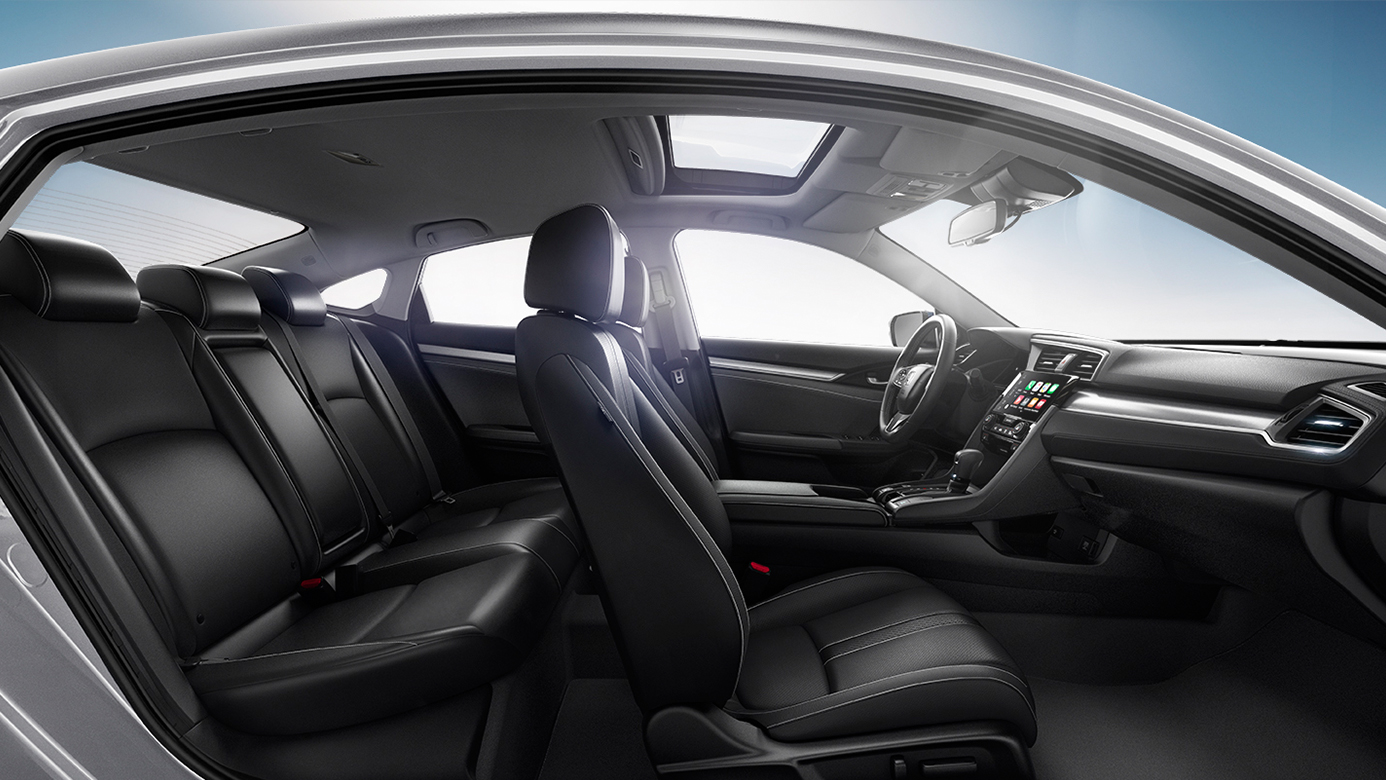 the 2016 honda civic interior space room to stretch out. Black Bedroom Furniture Sets. Home Design Ideas