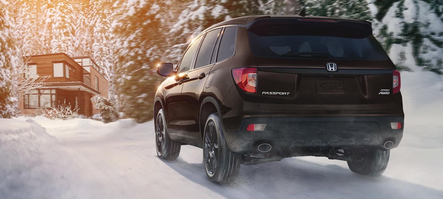 2019 Honda Passport Exterior Rear Angle Driver Side Winter