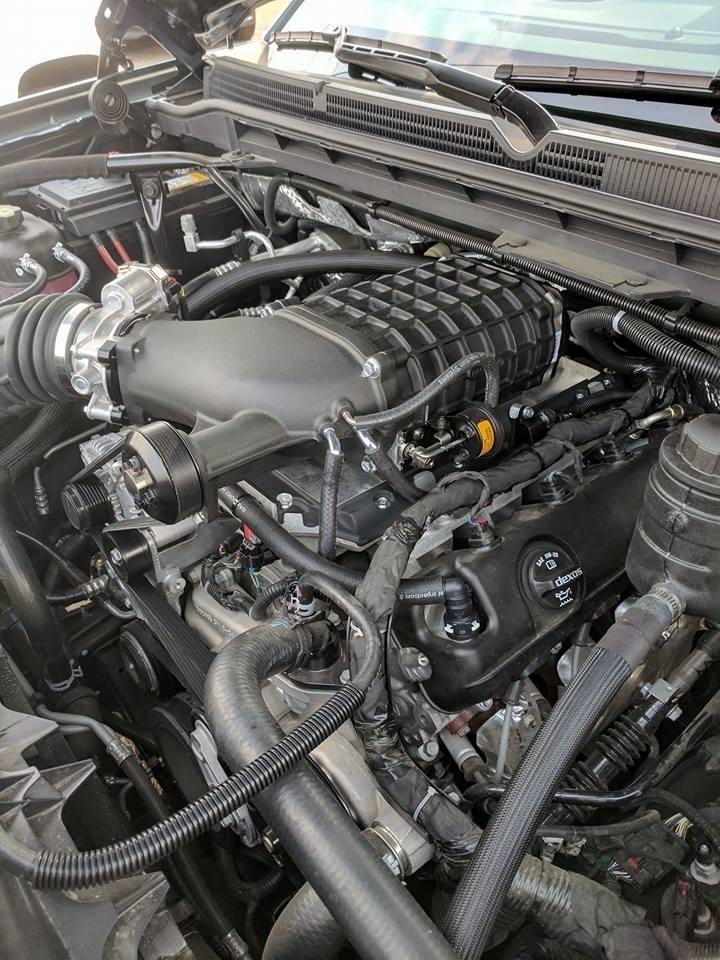 Customized Black GMC Sierra Supercharged Pickup Truck - Engine, Custom Rims - Westridge Customs