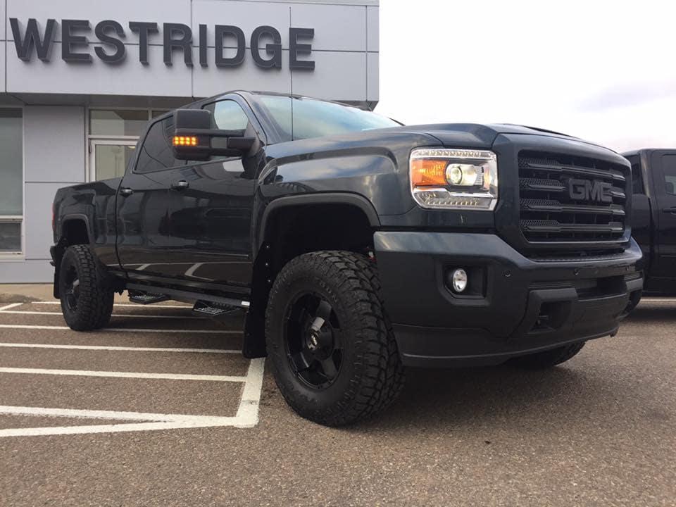 Customized Black GMC Sierra Pickup Truck - Custom Rims - Westridge Customs
