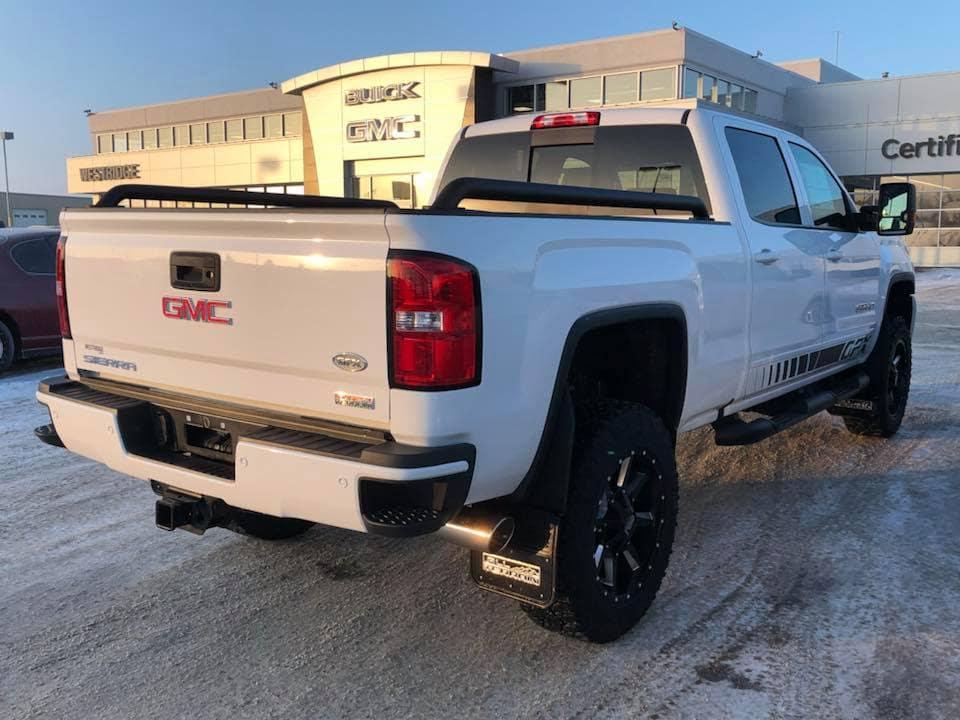 Customized White GMC Sierra HD Pickup Truck - Custom Rims, Step Bar - Westridge Customs