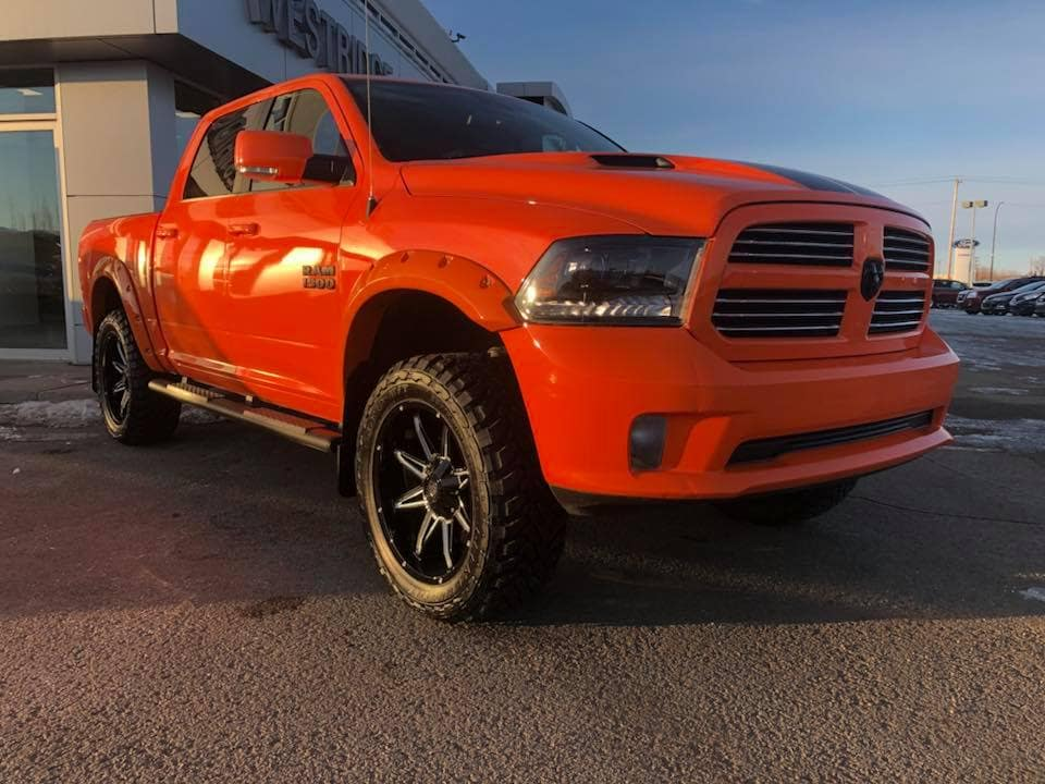 Customized Orange Dodge Ream Pickup Truck - Custom Rims - Westridge Customs