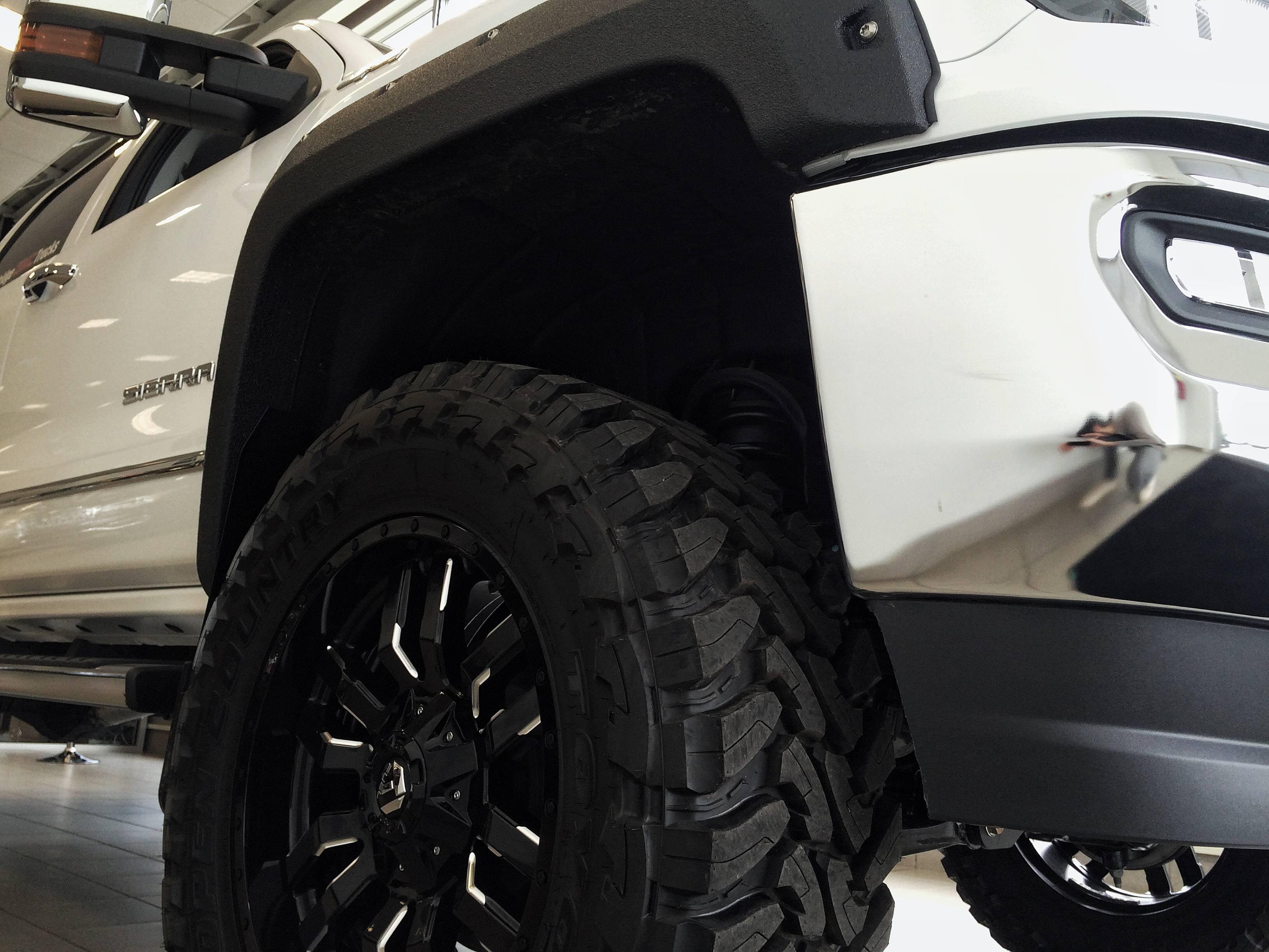 Customized White GMC Sierra Pickup Truck - Custom Rims, Fender Flares - Westridge Customs