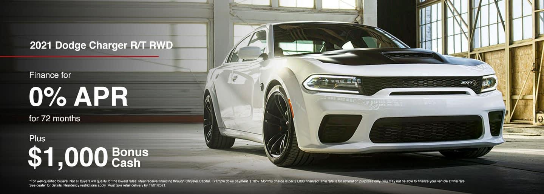 Dodge Charger R/T RWD Finance for 0% APR For 72 months Plus $1,000 Bonus Cash