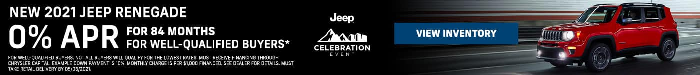 NEW 2021 Jeep Renegade 0% APR for 84 Months For well-qualified buyers*