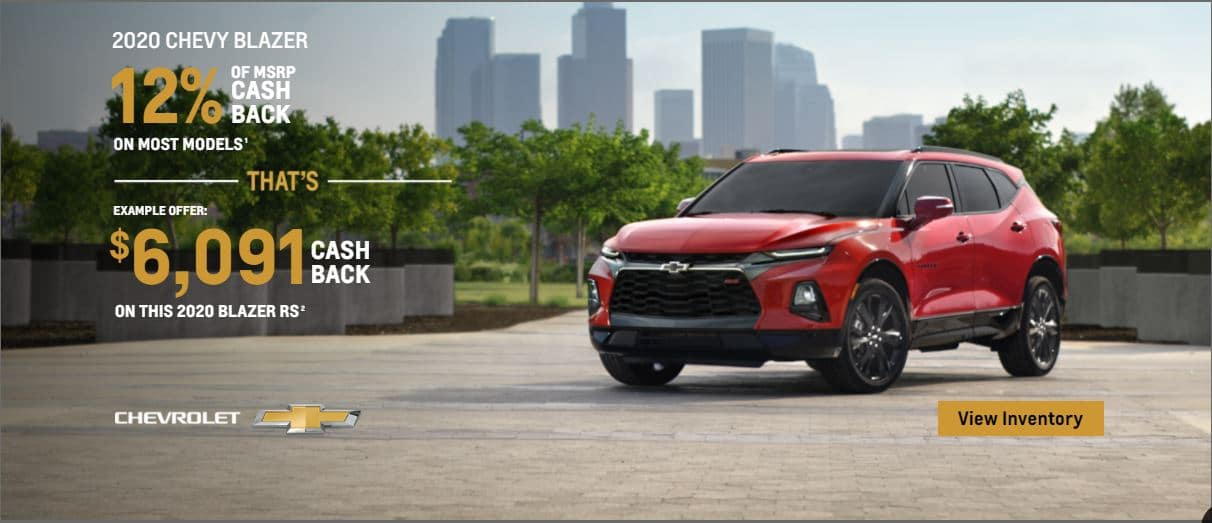2020 trail blazer 12% of msrp cash back on most models