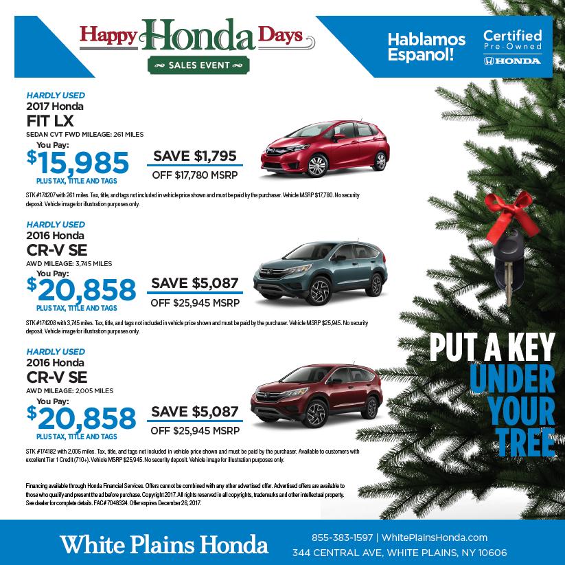 Put a key under your tree for White plains honda service