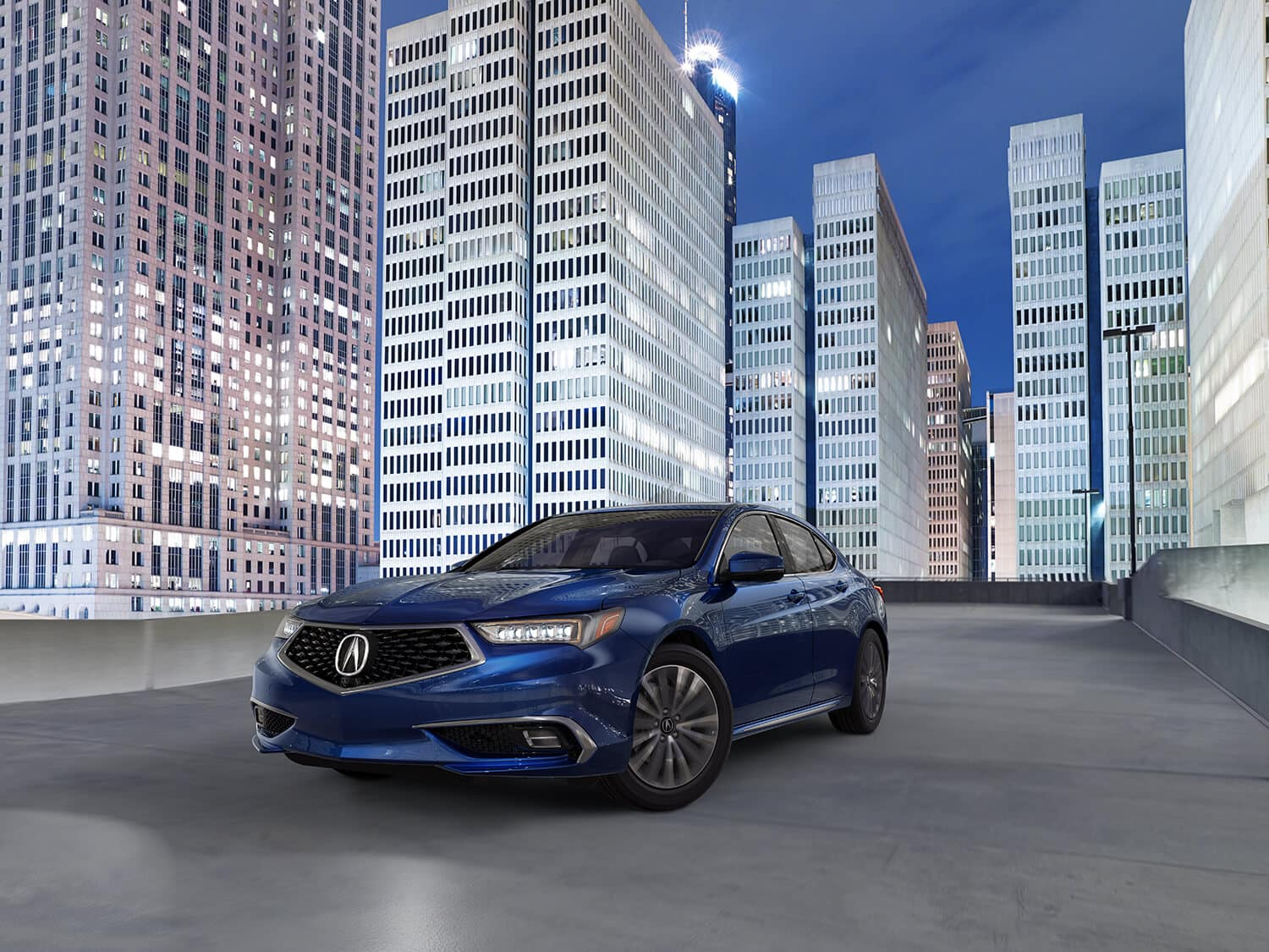 2020 Acura TLX Exterior Front Angle Driver Side Cityscape