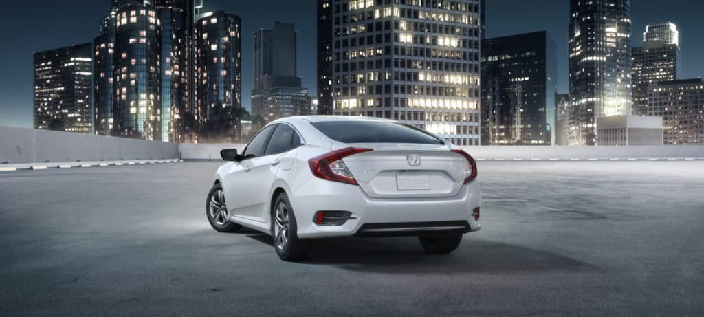 2018 Honda Civic Sedan Exterior Rear Angle City Night