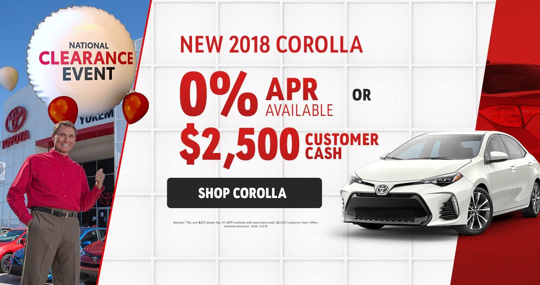 2018 Corolla Sale
