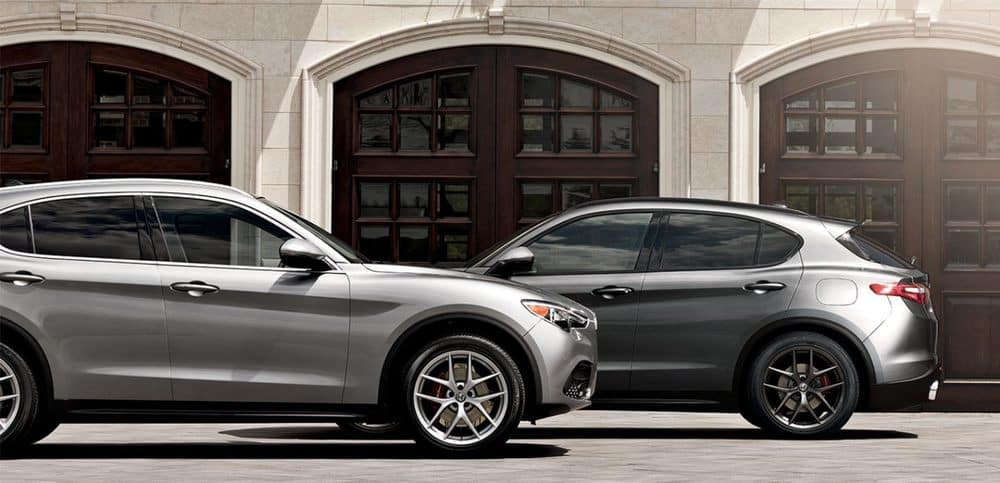 2019 Alfa Romeo Stelvio 2 Silver Exterior Driving By Eachother